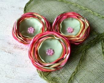 Handmade flower appliques, embellishments, floral appliques, large flowers, pink fabric flowers, satin appliques (3pcs)- PINK- GREEN- YELLOW