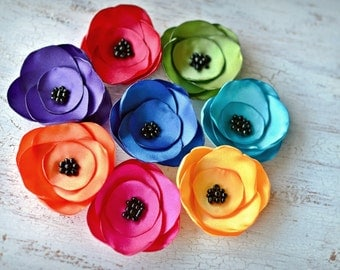 Satin fabric flowers, silk flower appliques, small satin roses, wedding flowers, bulk flowers, flower embellishment (8pcs)- RAINBOW OF ROSES