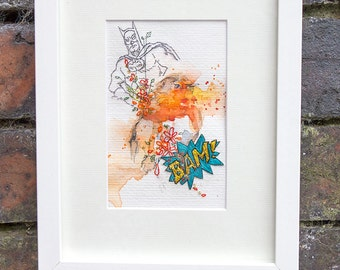 Robin Watercolour. Original Painting. Bird Watercolour Painting with Embroidery. Robin Red Breast. Batman.  Robin.