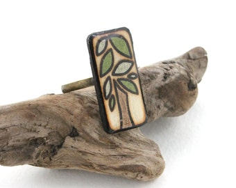 Wood Rectangle Tree Ring, Green Leaves, Wood Burned Jewelry, Adjustable Rings for Women & Girls, Tree of Life Jewelry, Epoxy Resin and Wood