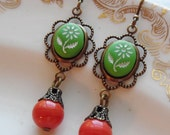 75% Off Clearance Sale- Meredith, Earrings with Vintage Beads