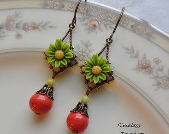 75% Off Clearance Sale- Citrus Punch, Earrings with Vintage Glass Beads
