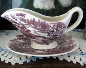 Vintage Tonquin Royal Staffordshire Clarice Cliff Mulberry Gravy Boat Sauce Boat w/Matching Platter Two Pieces