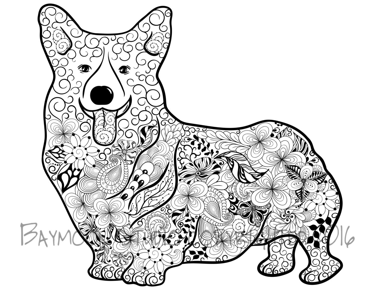 Pembroke Welsh Corgi Coloring Page Printable By Baymoonstudio Corgi Coloring Pages