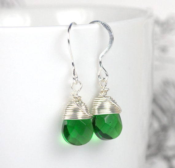 Sterling Silver Wire Wrapped Earrings, Emerald Green and Sterling Silver Earrings, May Birthstone Earrings, Silver Earrings [#584]