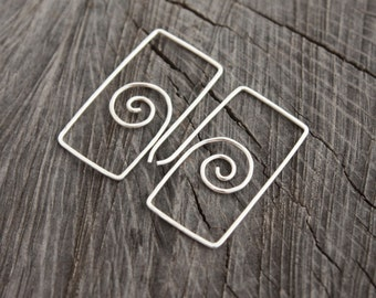 Unique Spiral Rectangle Easy to Wear Hoops