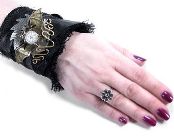Steampunk Textile Cuff, INDUSTRiAL Black Leather Sawtooth Gear, Brass WINGED BAT Dial Button Watch Parts - Steampunk Clothing by edmdesigns