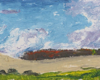 "Art Original Trading Card ACEO 2.5"" x 3.5"" Impressionist Landscape Oil Painting Sky Eastern Townships Quebec Canada By Founier no.2016-02"