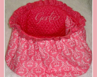Dog Cart Cover -Shopping Cart Cover w/ Ruffle and Glamour Tulle - Puppy Cart Cover - Includes Embroidered Personalization