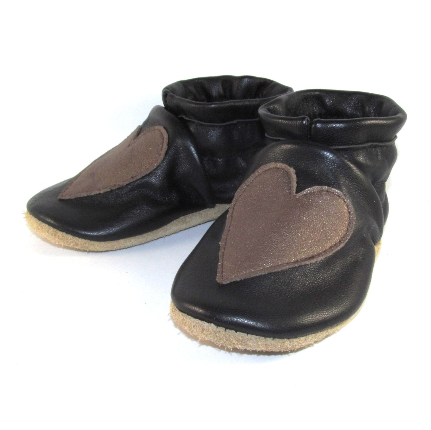 soft sole leather hearts baby shoes 12 to 18 month eco