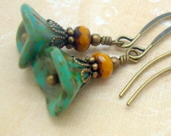 Bohemian Jewelry, Boho Earrings, Rustic Flower, Mustard Yellow and Marbled Turquoise Blue Glass, Brass, Neo Victorian