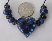 Dusty Blue and Purple Heart Lampwork Bead Set