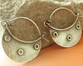 Silver Hoop Earrings, Riveted Sterling Silver Earrings, Argentium Earrings, Metalsmith Earrings, Contemporary Jewelry, Metalwork Earrings