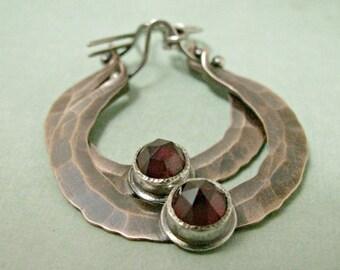 Garnet Earrings, Sterling Silver And Copper Earrings, Rustic Mixed Metal Hoop Earrings, Garnet Jewelry, Gemstone And Copper Jewelry