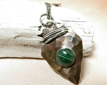 Copper And Malachite Arrowhead Necklace, Arrowhead Pendant, Metalsmith Malachite Jewelry Southwestern Sterling Silver And Copper Jewelry