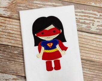 Super Hero Girl - Personalized Applique Tee -  size 6 mos thru 10 girls