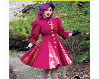 Sewing Pattern-McCalls 7373-Fit and Flare or Godet Coats with Stand-Up Collar Size 6-14