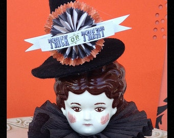 Halloween Decoration Large Sized Vintage China Doll Witch  Halloween Ornament   TVAT