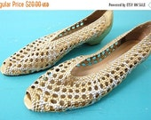 On Sale 80s Woven Gold Silver Peep Toe Slip Ons 8
