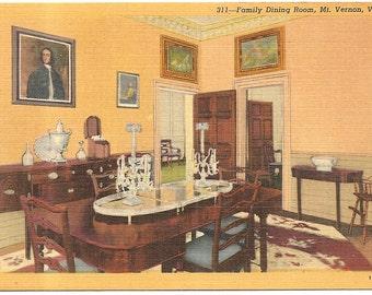 Home of Washington, Mt. Vernon, VA Vintage 20's -40's Linen Postcard