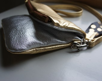 HOLIDAY///Mini Fold Over Pouch in Gold and Silver Leather with Clip On Leather Messenger Strap