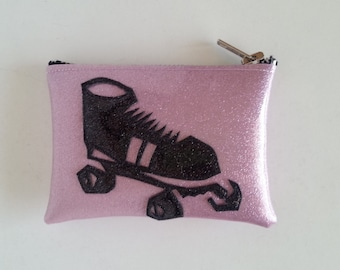 Roller derby coin purse pink metalflake vinyl with black roller skate