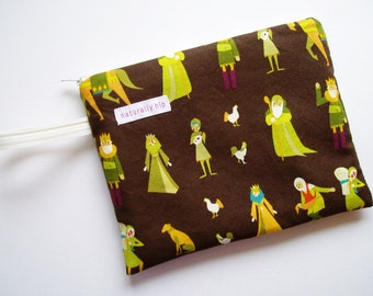 """8"""" x 6"""" Double Pocket Wet Bag - Medieval Woodland Villagers Brown Green Yellow Water Resisant Zipper Pouch - Cloth Menstrual Pad Travel Bag"""