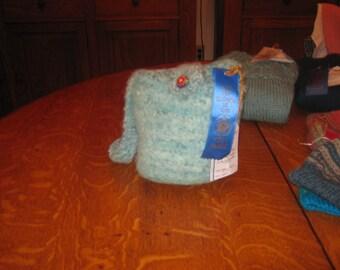 Hand Spun, Hand Knit, Wet Felted Purse, 100% wool