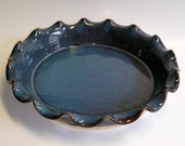 Wheel Thrown Blue Pottery Pie Plate with Scalloped Rim and Chattered Spiral Bottom