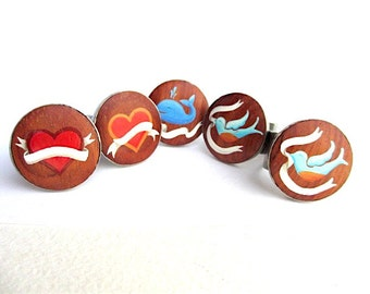 Cheery Personalized Bridesmaids Gifts - Playful Rings of Wood, Metal, and Oil Enamel