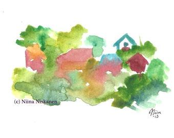 Village Landscape Original Watercolor Painting Mountain Village Illustration by Niina Niskanen