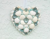 Coastal Sea Shell Heart, Valentines Day Shell Heart, Aqua and White Valentine, Coastal Beach Shell Heart, Beach Wall Hanging, Wedding Heart