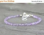 45% OFF: Lilac Amethyst Gemstone Bracelet. Sterling Silver February Birthstone. Summer Beach Jewelry. Simple Minimalist Fashion