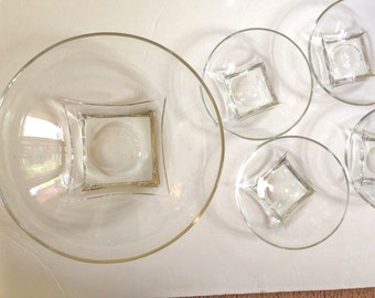 Colony Square Serving Bowl with 4 Salad Bowls Clear Hazel Atlas Set Mid Century Dining