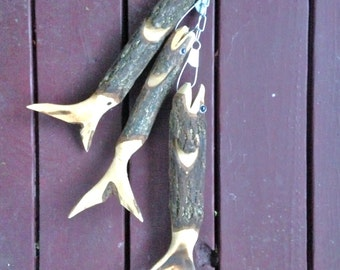 Wood Trout hanging on a chain Cabin Decor Hand Carved *