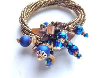 Charm Bracelet Cobalt BLue & Gold Beads Boho
