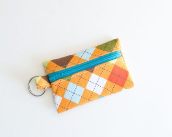 Ear Bud Case, Coin Purse, Small Zippered Pouch Orange Argyle