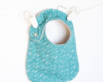 Baby Boy Bib, Adjustable Bib with Minky in Teal and White Arrows Adventure Springs