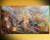 Acrylic Modern Symbolism Painting Contemporary Jewish Fine Art on Canvas Angel Wings series Spirit of Jerusalem.Flowers Menorah Hebrew words