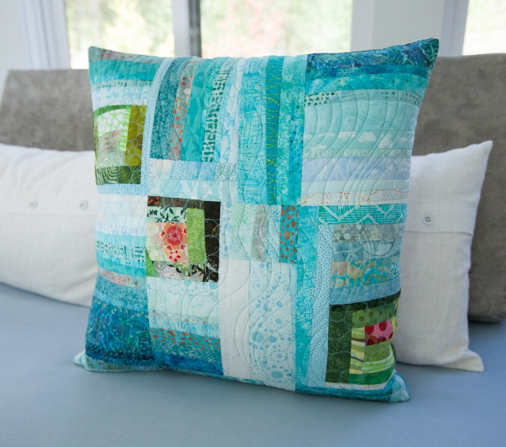 Quilted Pillow Modern Patchwork 20 x 20 Decorative Fiber Art
