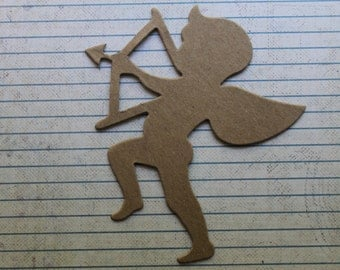 3 Bare Chipboard Large Cupid Valentine Diecuts 4 1/4 inches wide