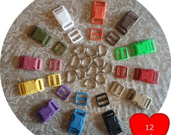 "SALE - 12 SETS - 1"" - Dog Collar Kits, Wide mouth, ASSORTED - Black.White.Red.Yellow.Raspberry.Blue.LimeGreen.Orange.Olive.Tan.Purple.Brown"