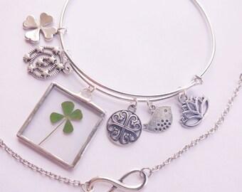 real four leaf clover bracelet - bracelet set - four leaf clover jewelry - 4 leaf clover bracelet - infinity bracelet - silver bracelet