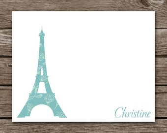 PRINTABLE Eiffel Tower Note Cards, Eiffel Tower Cards, Paris Cards, Eiffel Tower Stationery, Personalized Note Cards