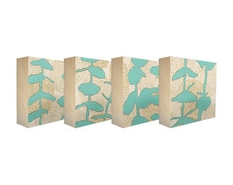 Set of 4 Art Blocks - Limited edition botanical prints on birch panel, plant silhouettes, 5x5 - Free Shipping - Ready to hang - Sprouts Teal