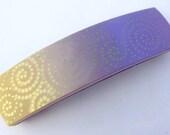 Polymer Clay Hair Barrette Silk Screen Spirals Purple Ocher
