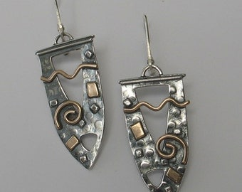 Large Mixed Metal Shield Earrings