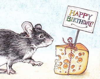 Happy Birthday Mouse Card from an Original Pen and Colored Pencil Drawing