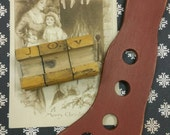 Found Christmas Objects ~ vintage JOY wood stamps ~ old sepia postcard ~ prim style farmhouse wood stocking stretcher ornament ~art supplies