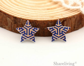 10pcs Geometric Star Wood Cabochons / Charm, Perfect for Earring, Necklace - HWE401L